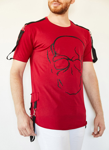 XHAN Kiremit Kuru Kafa Baskılı Şerit Detaylı Uzun T-Shirt 0Yxe1-44106-16 Kırmızı